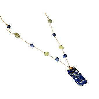 Gemshine halsband Aquamarine lapis lazuli ädelsten. 925 silver eller guldpläterad