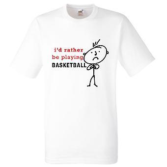 Mens eu preferia estar jogando basquete branca Tshirt