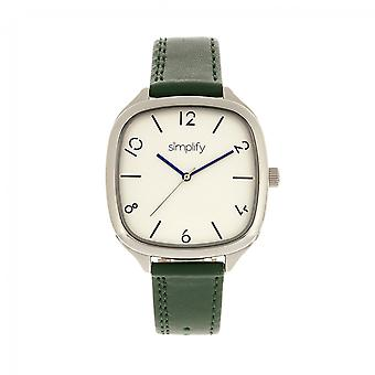 Simplify The 3500 Leather-Band Watch - Silver/Green