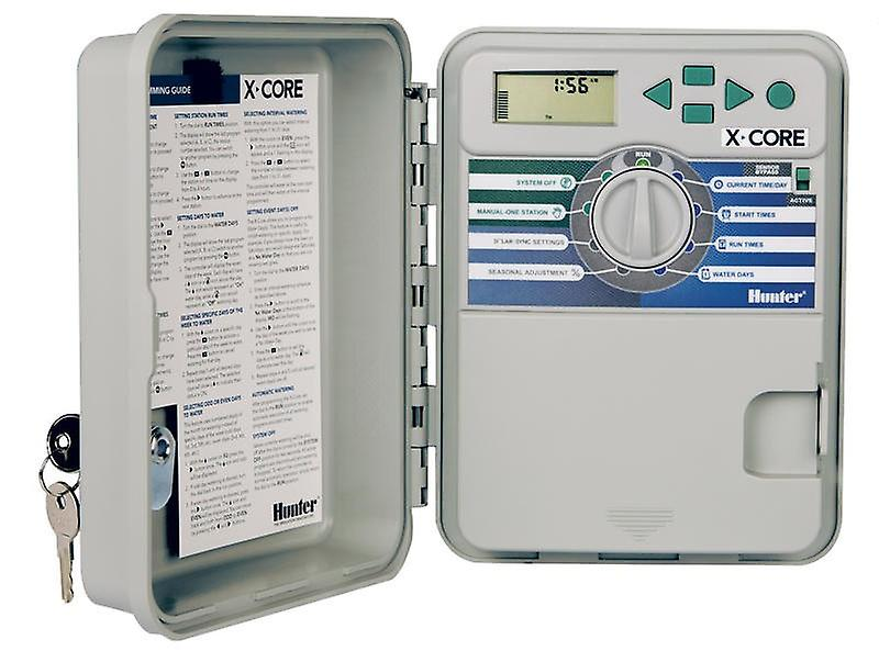 Hunter X-Core 401 4-Station 230/240 VAC outdoor controller, with plastic cabinet