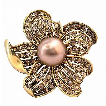 Vintage Golden Shadow Crystals Pearls Sunflower Brooch Pin
