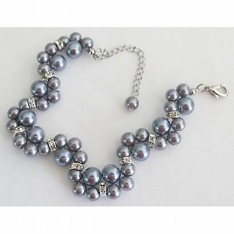Matrimonio o Prom a mano intrecciato ritorto Bracciale perle grigie