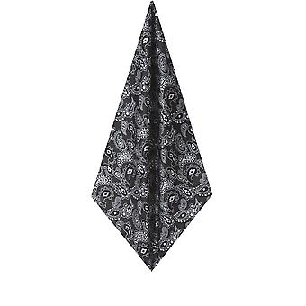 Dobell Mens zwarte grote Paisley zakdoek