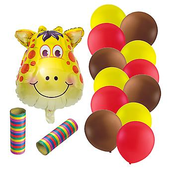 Foil Balloon Giraffe + 12 Latex Balloons and Serpentines