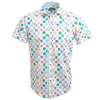 Guia Londres algodão sateen multi-coloured & #039; #039 psicadélico do globo &; Imprimir camisa de manga curta Mens