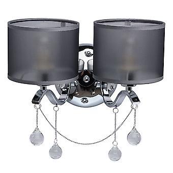Glasberg - Chrome dobbelt væglampe med glas dråber og grå nuancer 379029302