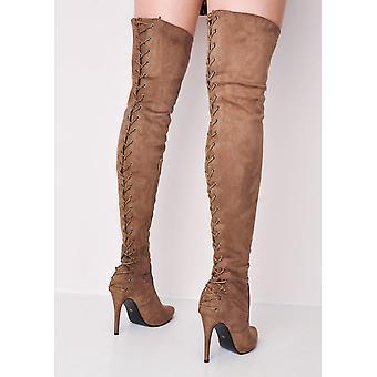 Sobre el muslo rodilla gamuza alto encaje espalda aguja talón largo botas marrón