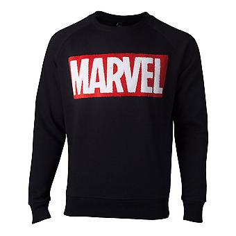 Marvel Sweatshirt Chenille Box Logo Mens Sweater Black Large (SW806672MVL-L)