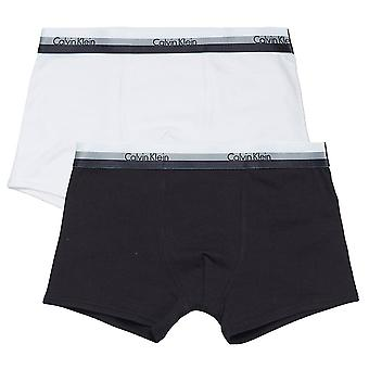 Calvin Klein Boys 2 Pack CK Graphic Boxer Trunk, Black / White, XX-Large