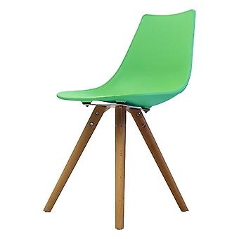 Fusion Living Iconic Peppermint Plastic Dining Chair With Light Wood Legs