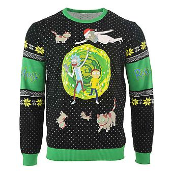 Rick and Morty Christmas Jumper Portal Get Schwifty Logo Official Black Knitted