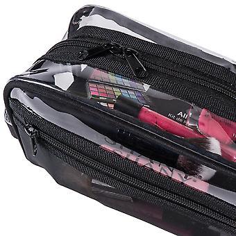 シャニークリアトイレタリーとメイクアップバッグプラスチックメッシュポケット付き - ハンドル付きの中無毒旅行オーガナイザー - ブラックメッシュ