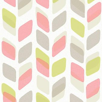 Galerie Wallcoverings Galerie Unplugged Abstract Leaf Pattern Retro Geometric Vinyl Wallpaper UN3005