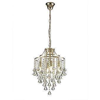 Diyas Inina pingente 4 Luz E14 ouro francês/cristal