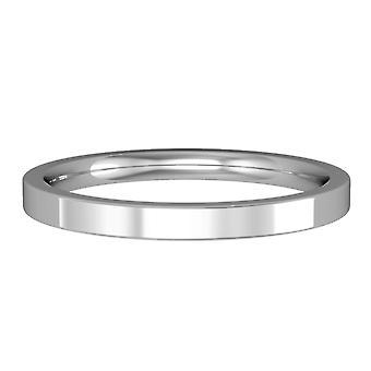 Κοσμήματα του Λονδίνου Platinum-2mm Premium Flat-σχήμα μπάντα δέσμευση/δαχτυλίδι γάμου