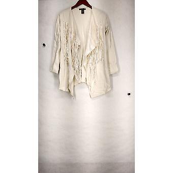 Kate & Mallory Open Drapery Cardigan w/ Whip Stitch Ivory Womens A427723