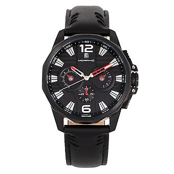 Morphic M82 Series Chronograph Leather-Band Watch w/Date - Black