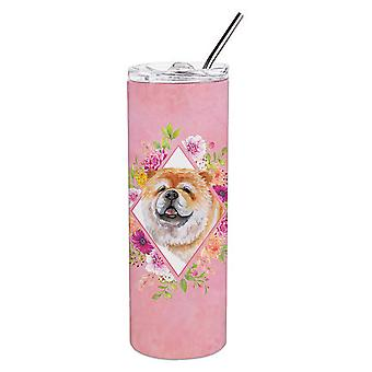 Чау-чау #2 Розовые цветы Двойная стена нержавеющая сталь 20 унций Тощий тумблер
