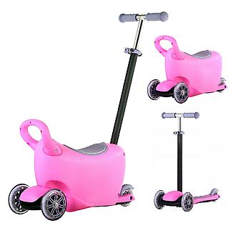 Rideontoys4u 3 Stages 3in1 Light Up Scooter With Storage Box Pink