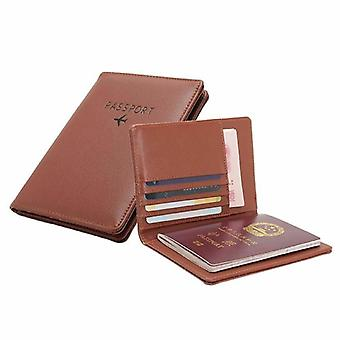 Passport holder in PU leather, brown