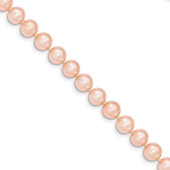 14k broche de perlas oro amarillo 7-7.5 mm rosa agua cebolla agua dulce cultivadas Perla pulsera - 7.5 pulgadas
