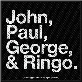 The Beatles Patch Jon Paul George & Ringo new Official Black Woven Iron on