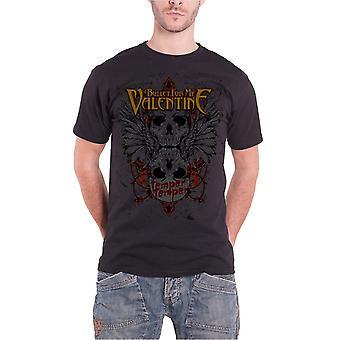 मेरे वेलेंटाइन मेंस टी शर्ट काले पंखोंवाले खोपड़ी अधिकारी के लिए गोली
