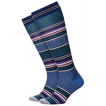 Calcetines altos Burlington Stripe Knee - Azul/Verde/Rojo