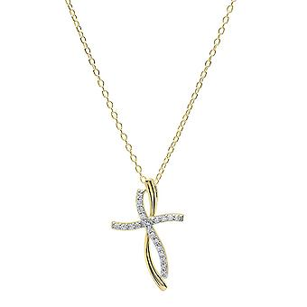 Dazzlingrock Collection 0.20 Carat (ctw) 14K Round Diamond Ladies Twist Cross Pendant (Gold Chain Included), Yellow Gold
