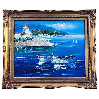 Medelhavet Mediterranean, oljemålning med ram, 40x50 cm