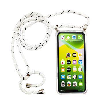 Lanț de telefon pentru Apple iPhone 11 Pro Max - Smartphone Colier caz cu panglică - Cablu cu caz pentru agățat în alb