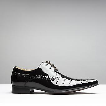 Mister Carlo Paris Mens Faux Patent Leather Derby Lace Up Shoes Black