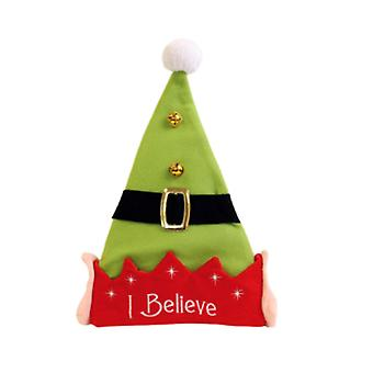 Seasons Greetings Christmas Hat with `I Believe` Elf Design