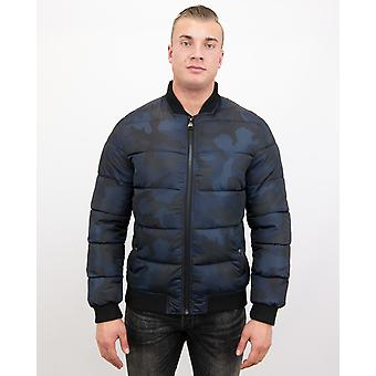 Camouflage Bomber Jacket - Camo Wintercoat - Blue