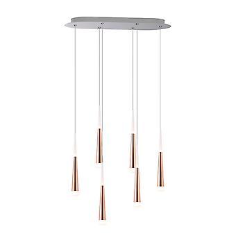 Industriell metallram tak hängande hängande ljus sex hänge oval Canopy bi riktad belysning New-Cooper
