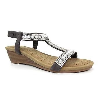 Lunar Ebony Pearl 'T' Bar Wedge Sandal CLEARANCE