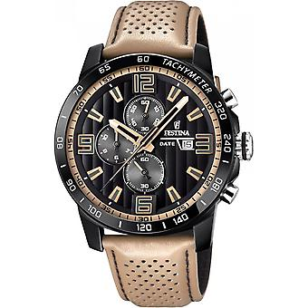 Festina horloge originelen F20339-1 - horloge chronograaf leder Beige man