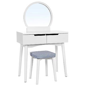 Tavolo moderno vanity con sgabello e opzioni di colore rotondo specchio-3