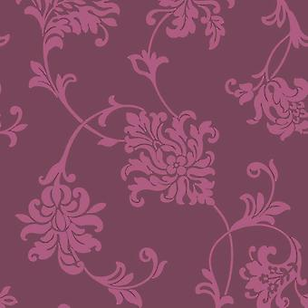 Hannah Mulberry Floral Wallpaper Ugepa Muriva Flor Rosa