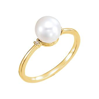 14k Yellow Gold 7mm Polished Freshwater Pearl and .025 Dwt Diamond Ring Size 6.5 Jewelry Gifts for Women