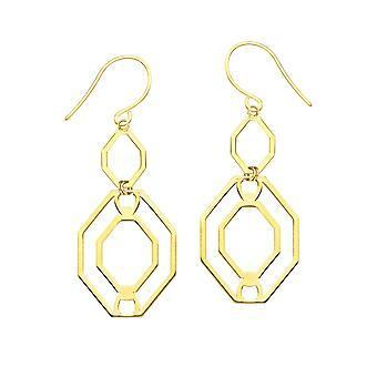14k oro amarillo geométrico octágono gota larga colgante pendientes regalos de joyería para las mujeres - 2.8 gramos