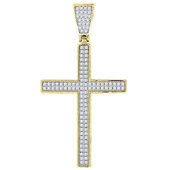925 Sterling ezüst sárga hang CZ Cross Férfi Vallási Medál Nyaklánc Charm intézkedések 52x27.2mm Széles Ékszer Ajándékok