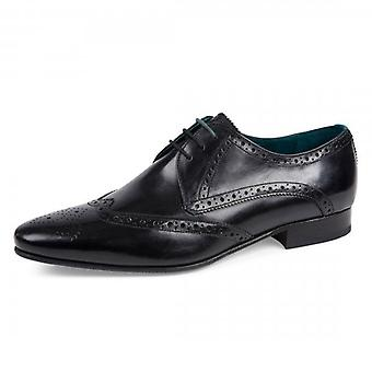 Ted Baker Hosei Black Leather Wing Cap Brogue Shoes