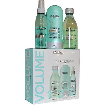 L'Oreal Professionnel Volumetry 3 Step Solution Set for Fine Hair Shampoo, Conditioner and Volume Spray