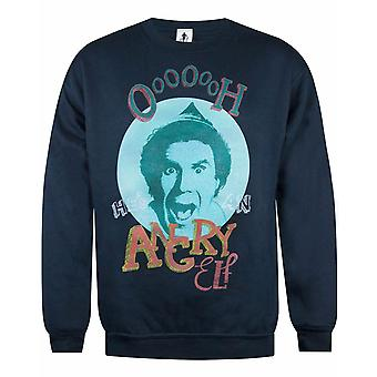 Elf Buddy Oh He's Angry Men's Navy Christmas Sweatshirt