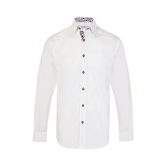 JSS Plain White Regular Fit Shirt With Blue & Red Paisley Trim