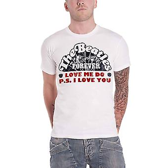 Officiella Mens The Beatles T Shirt Love Me Do Single Band Logo nya Vita