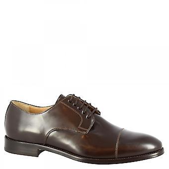 Leonardo Shoes Chaussures Homme-apos;chaussures oxford faites à la main en cuir de veau brossé brun foncé