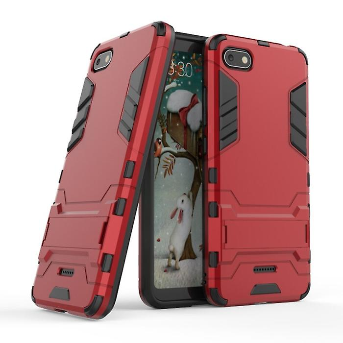 HATOLY iPhone 8 Plus - Robotic Armor Case Cover Cas TPU Case Red + Kickstand