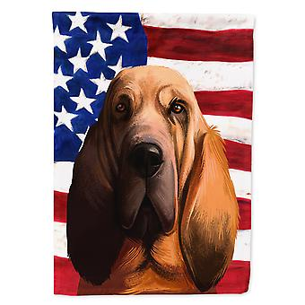Bloodhound Dog American Flag Flag Canvas House Size